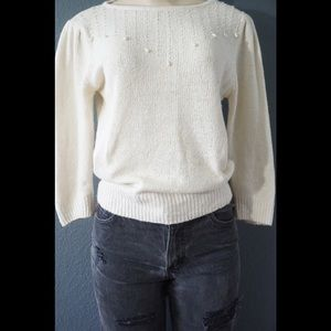 Sweaters - Vintage pearl crop knit sweater r